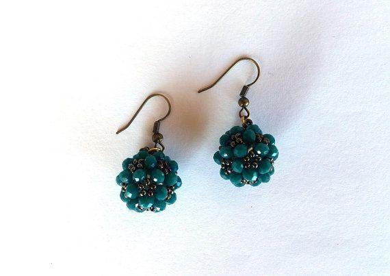 Beaded Earrings Jewelry Emerald Green  Beaded Ball by GULDENTAKI