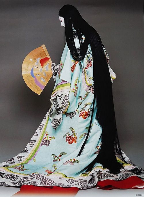 Recreating Heian look on stage.  Japan.  The Heian period was a Japanese period dating back about 1000 years