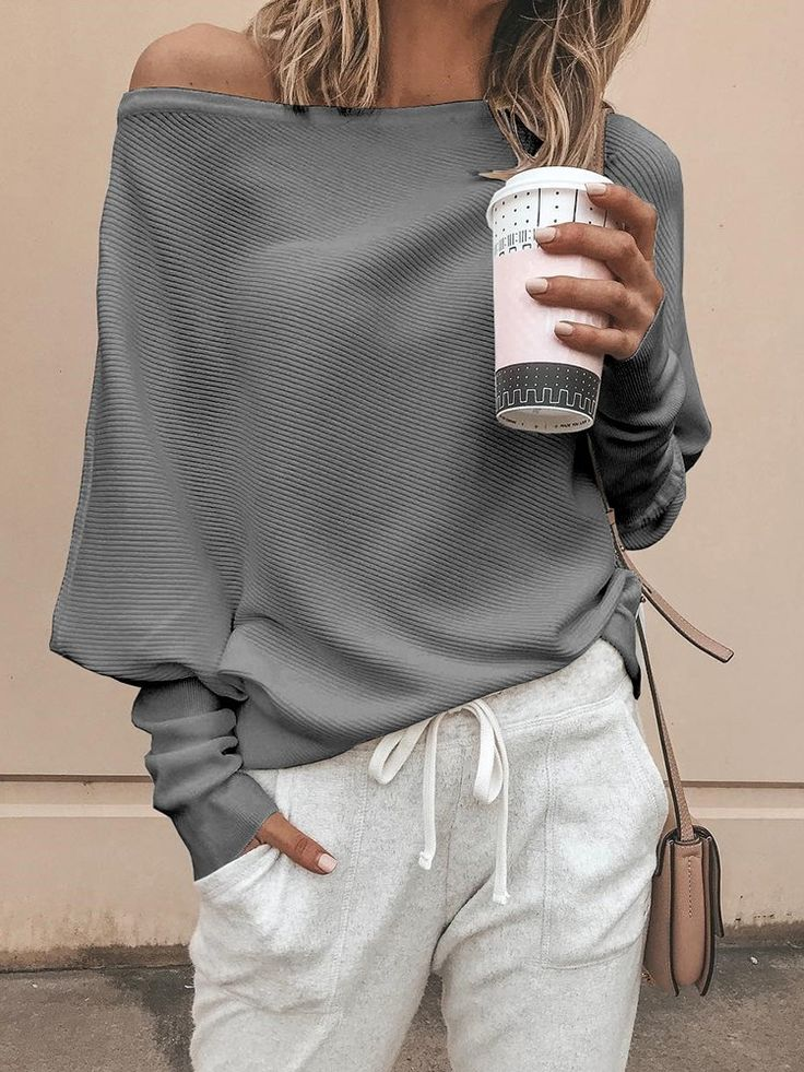 Shop Solid Batwing Sleeve Casual Top right now, get great deals at Joyshoetique.