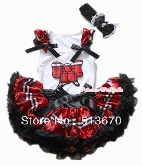 Черный красный проверка плед юбка с плед котенок с бантом рюшами с бантом топ и черный повязка на голову с с бантом MANG1127