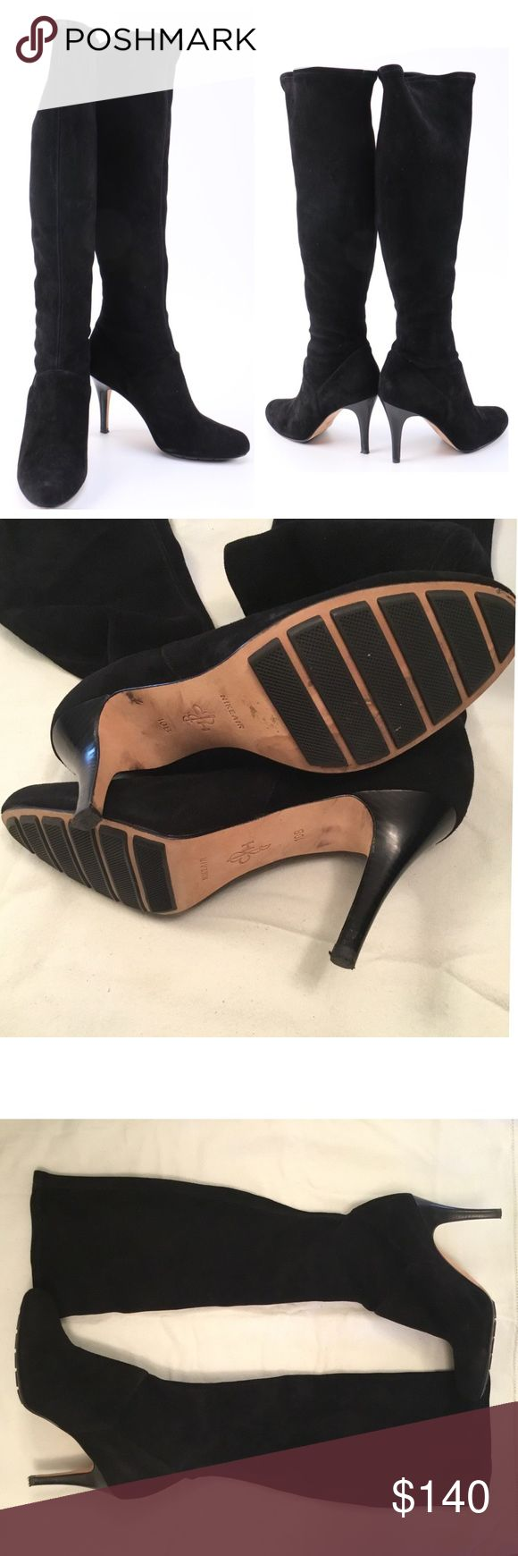 """Cole Haan Nike Air 10B Black Suede Boots Over the knee black suede boots, with an almond toe and 4"""" heels featuring Nike Air components.  Condition is very light wear, like new.  Size is 10B. Any questions please ask. Personal note bin anmm. Cole Haan Shoes Over the Knee Boots"""