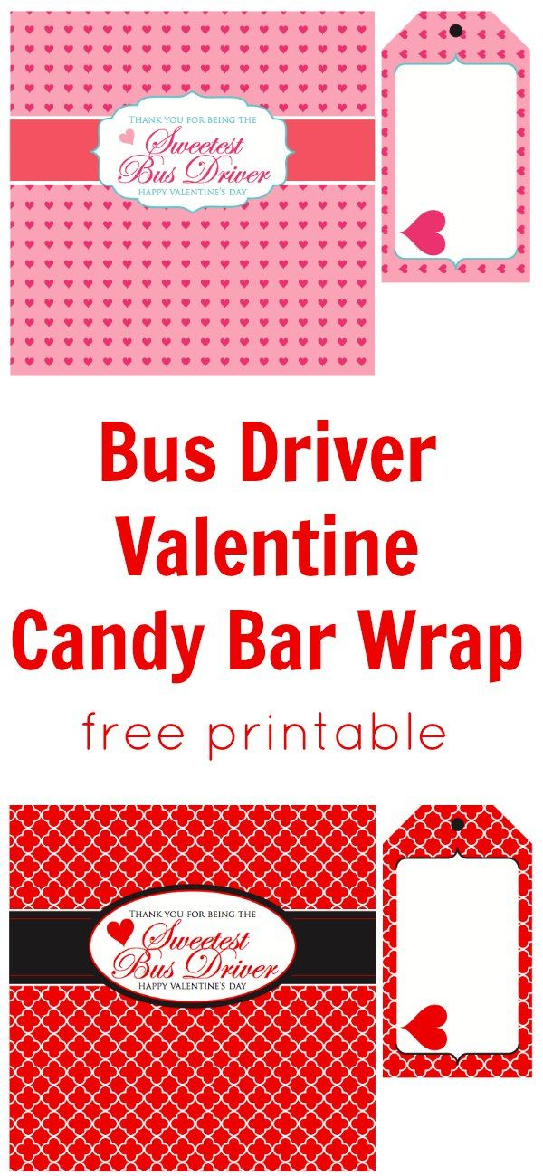 Bus Driver Candy Bar Wrap Valentine | Free Printable www.weheartparties.com