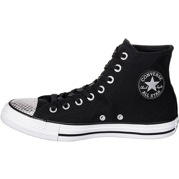 Converse All Star Metal Toe Hi Top Boots (Black) ❤ liked on Polyvore featuring shoes, boots, black shoes, hi tops, metal boots, black hi tops and kohl shoes