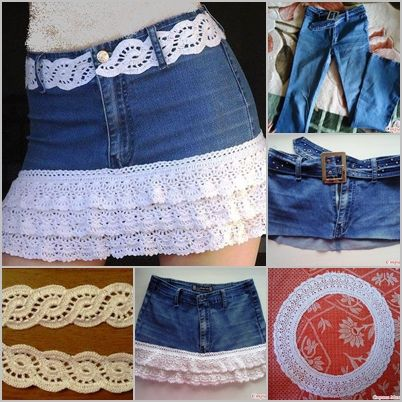 DIY Crochet layered Skirt from Old Jean