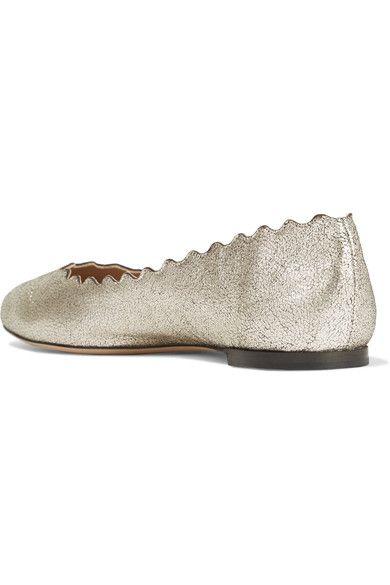 Chloé - Lauren Scalloped Metallic Cracked-leather Ballet Flats - Silver - IT34.5