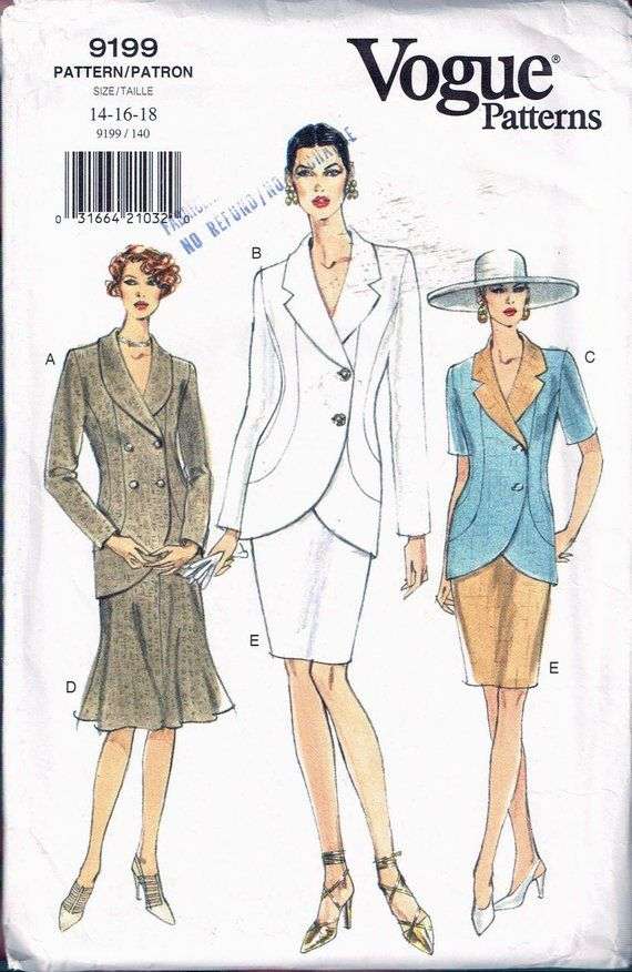 Size 14-18 Misses' Jacket & Skirt Sewing Pattern – Side Button Shaped Hem Jacket – Knee Length Skirt – Vogue 9199