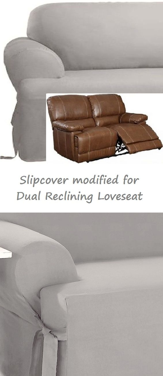 Dual Reclining Loveseat Slipcover T Cushion Cotton Gray Sure Fit