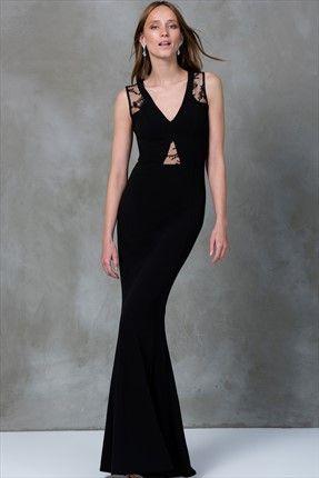 Dantel Dekolteli Siyah Elbise