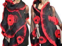 Grote sjaal, rode klaprozen, zijde, merino wol