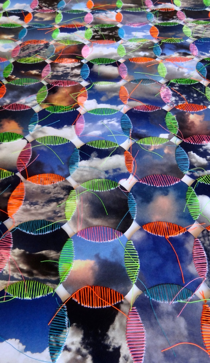 Overlapping Skies - Original Sky/Cloud Photographic Collage Hand-Sewn with Neon Threads.  Cheryl Sorg.