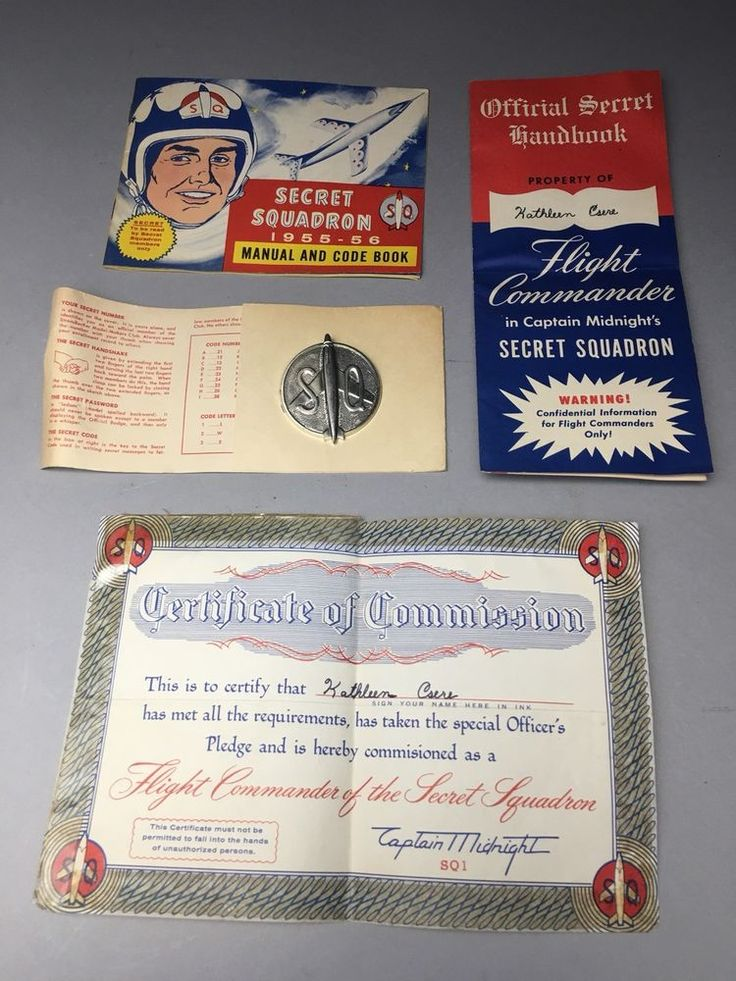Flight Commander In Secret Squadron Captain Midnight Membership Kit 1955-56 RARE    eBay