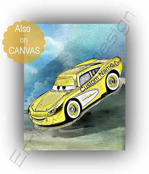 Lightning McQueen Cars print Custom Name art McQueen disney