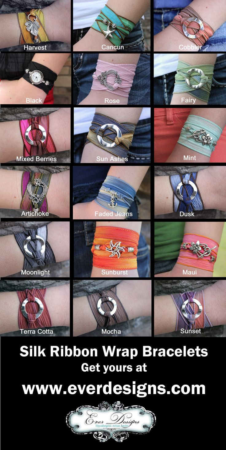 NEW! Ever Designs's best-selling Silk Ribbon Bracelets are now available in 18 fun colors. Which one is your favorite?