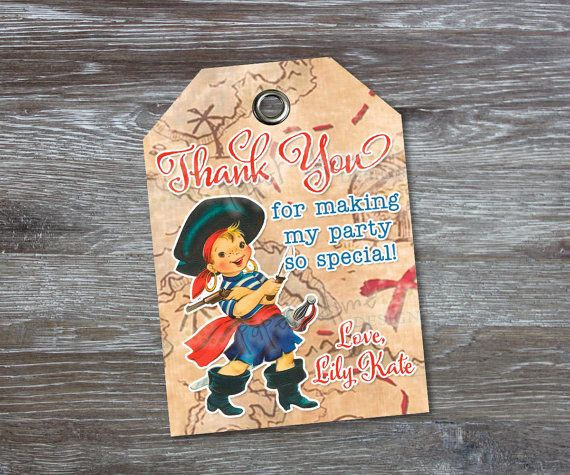 PERSONALIZED & CUSTOM Party Tags - Pirate, Shabby Chic, Vintage, First, Second, Third, Birthday, Boy, Favor, Label - PDF - You Print