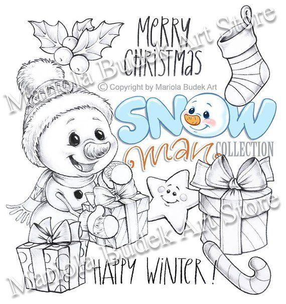 Snowman Collection Gift Mariola Budek Digital Stamp Digital Stamps Coloring Books Coloring Pages