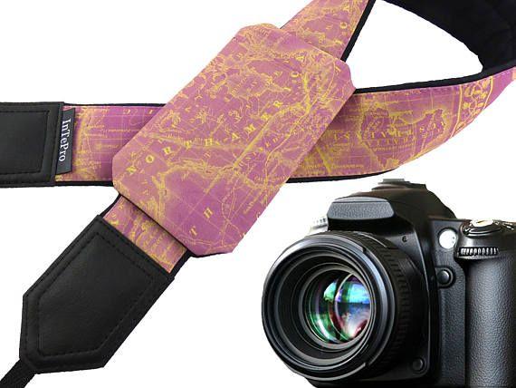 Pocket camera strap. Pink map camera strap. North America map.