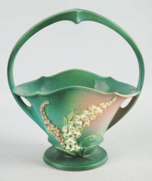 Roseville Pottery Lilies of the Valley Basket.
