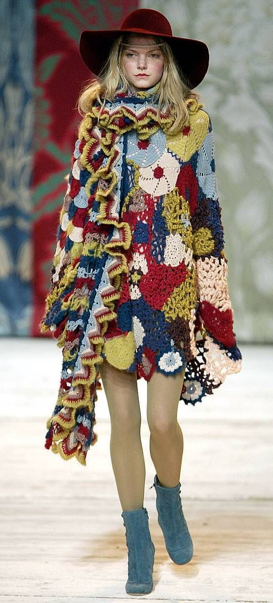 Unless you are going for the crazy cat lady look, I'd pass on the mismatched crocheted poncho.