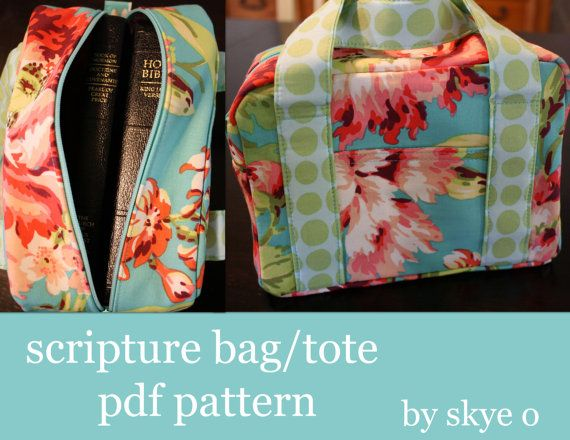 Sewing pdf PATTERN for scripture bag/tote.    (CUSTOM ORDERS ALSO WELCOME)
