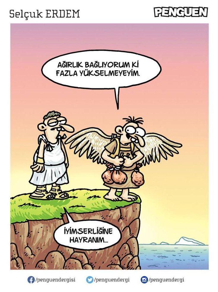 - Ağırlık bağlıyorum ki fazla yükselmeyeyim.  + İyimserliğine hayranım...  #karikatür #mizah #matrak #komik #espri #şaka #gırgır #komiksözler