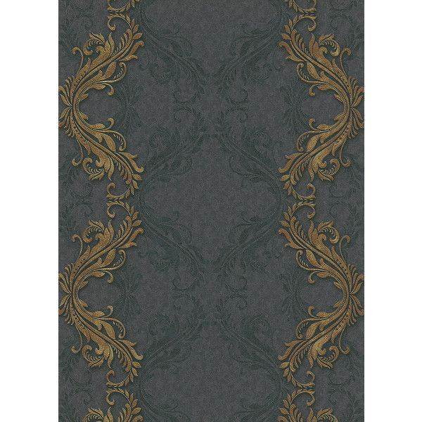 Etta Ornamental Scroll Stripe Wallpaper in Black and Gold design by BD... ($60) ❤ liked on Polyvore featuring home, home decor, wallpaper, gold striped wallpaper, gold damask wallpaper, gold stripe wallpaper, black striped wallpaper and black stripe wallpaper