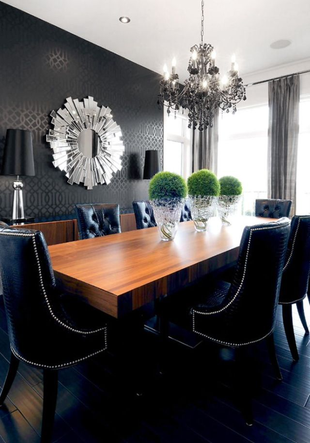 best 25 dining room wallpaper ideas on pinterest wall paper dining room dining room chairs and restoration hardware dining table - Silver Dining Room Interior
