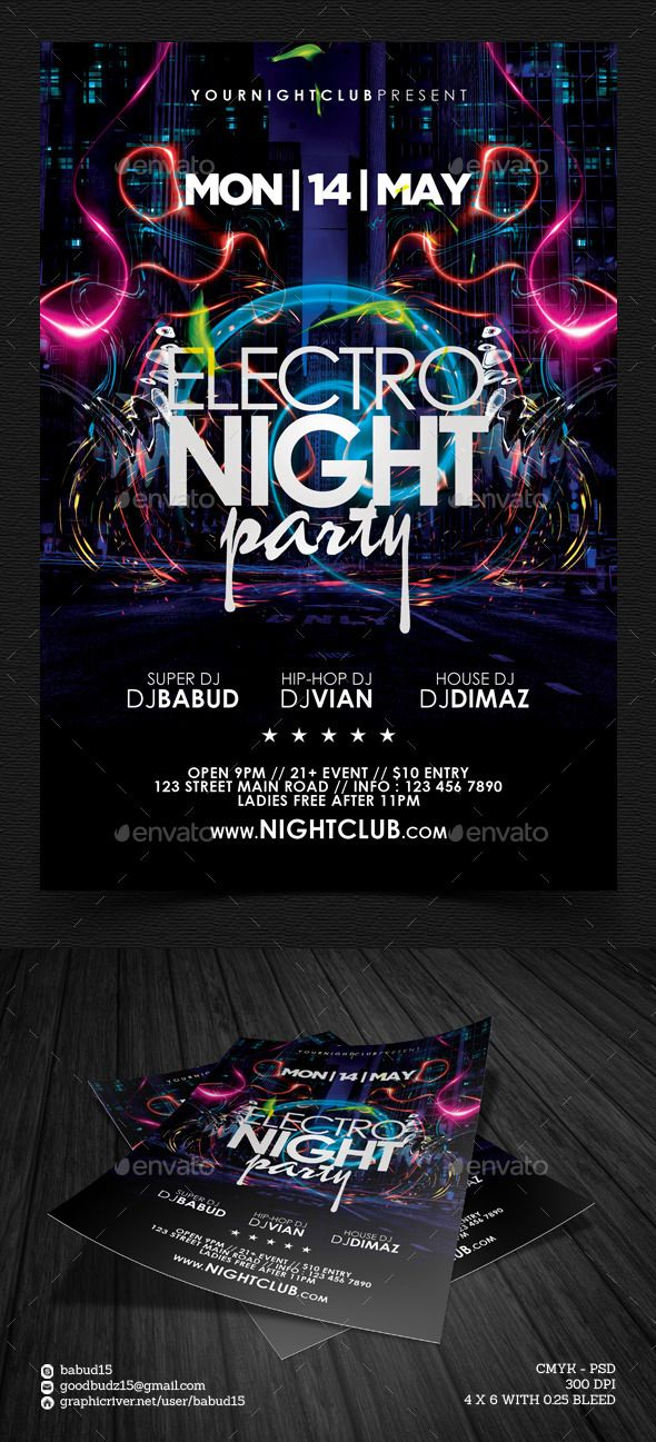 Electro Night Party Flyer Template PSD | Buy and Download: http://graphicriver.net/item/electro-night-party-flyer-template/8793097?WT.ac=category_thumb&WT.z_author=babud15&ref=ksioks