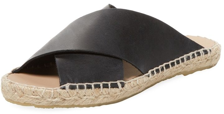 Pure Navy Women's Crossover Leather Espadrille Sandal