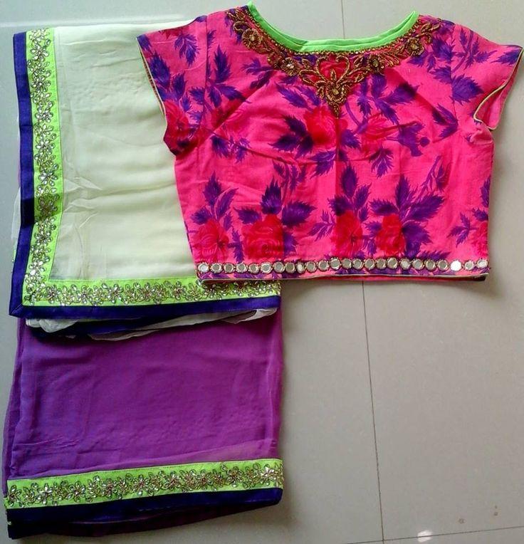 kundan work saree with mirror work lace