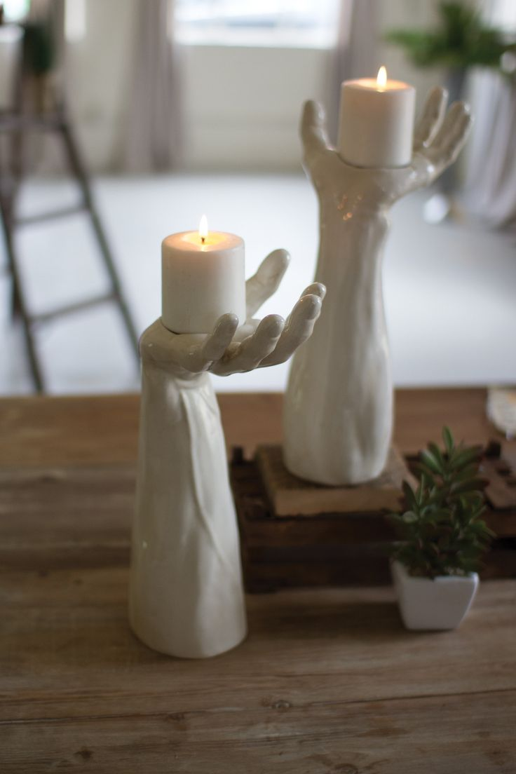 This rustic Handmade HAND SHAPED Ceramic Hand Candle Holder looks fabulous inside or outside the home. The hand is designed to be similar to life size and will