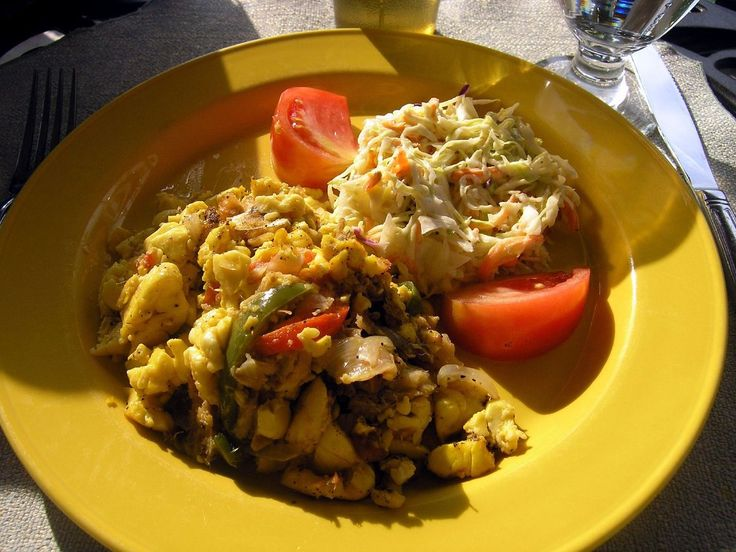 Ackee and Saltfish Ackee fruit paired with saltfish is