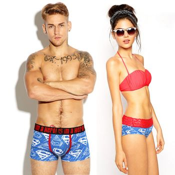 Pink Heroes Couple Panties Underwear Hot Brand Men Boxers Women Lingerie Homme Cuecas Cotton Sexy Male Lady Lace Underpants 2017  Price: 3.05 USD