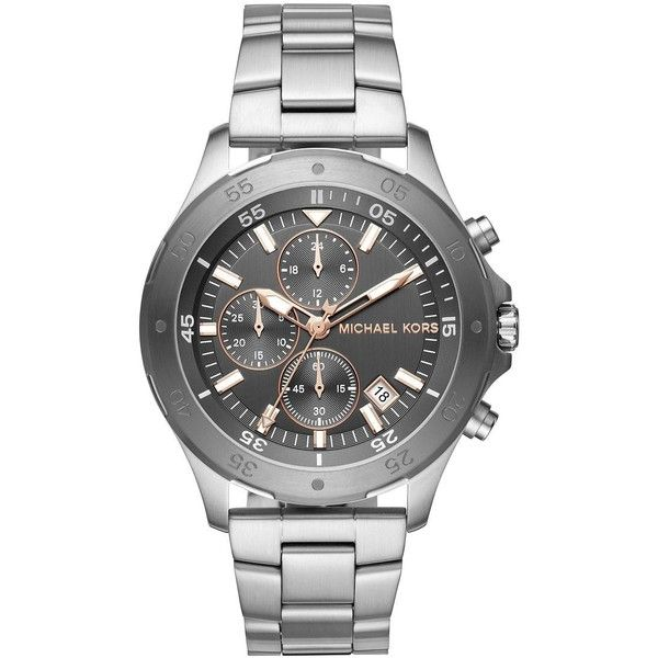 Michael Kors Men's Walsh Stainless Steel Bracelet Watch (8,070 THB) ❤ liked on Polyvore featuring men's fashion, men's jewelry, men's watches, silver, mens bracelet watch, mens chronograph watch, mens stainless steel watches, mens watch bracelet and mens watches jewelry