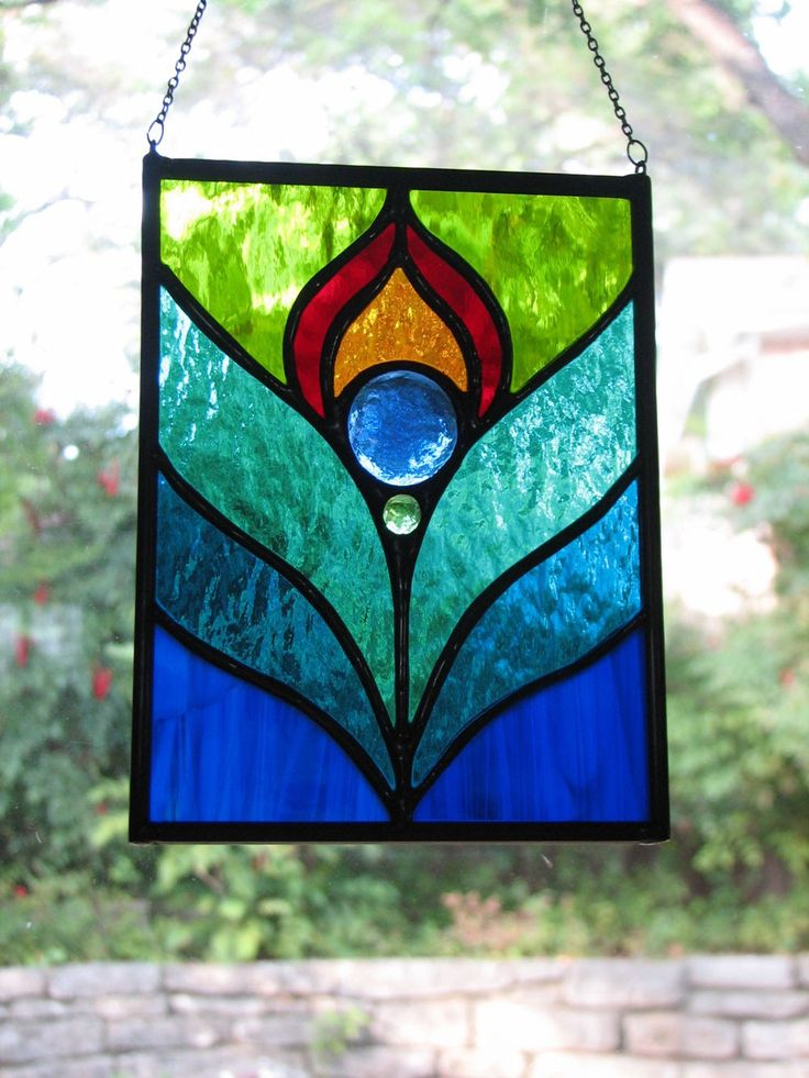 Peacock feather stained glass suncatcher sun the shape for Simple glass painting designs for beginners