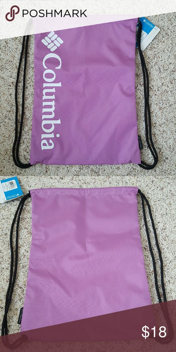 """Columbia Drawstring Bag Fun and sporty this pretty orchid drawstring bag can be used for anything and will be reliable for a long time to come with its sturdy canvas construction. Dimensions are 17.5"""" x 12"""" Columbia Bags Totes"""