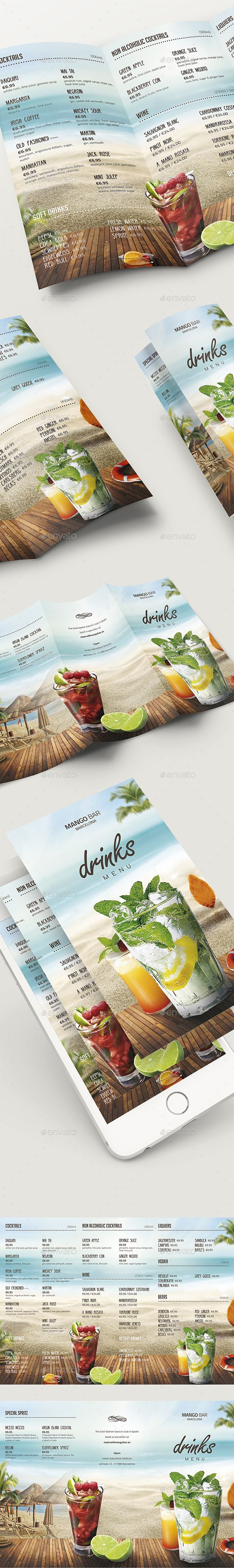 Drinks Menu Tri Fold   PSD Template • Download ➝ https://graphicriver.net/item/drinks-menu-tri-fold-template/17137904?ref=pxcr