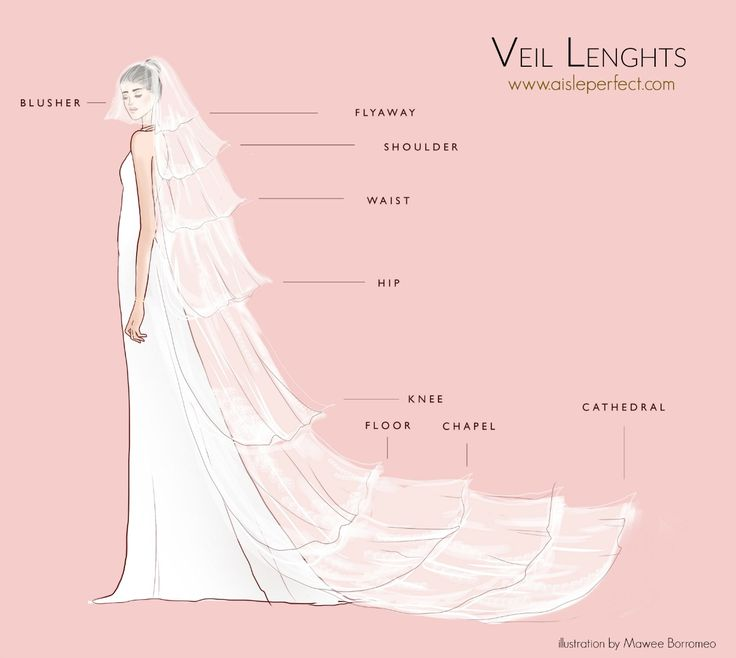 Veil Lengths Tutorial by Aisle Perfect: http://aisleperfect.com/2016/02/veil-length-infographic.html #wedding #bridal #veil