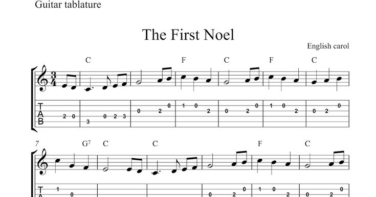 This is an easy guitar solo version of the Christmas carol The First Noel in PNG format. The score consists of the melody written with tradi...