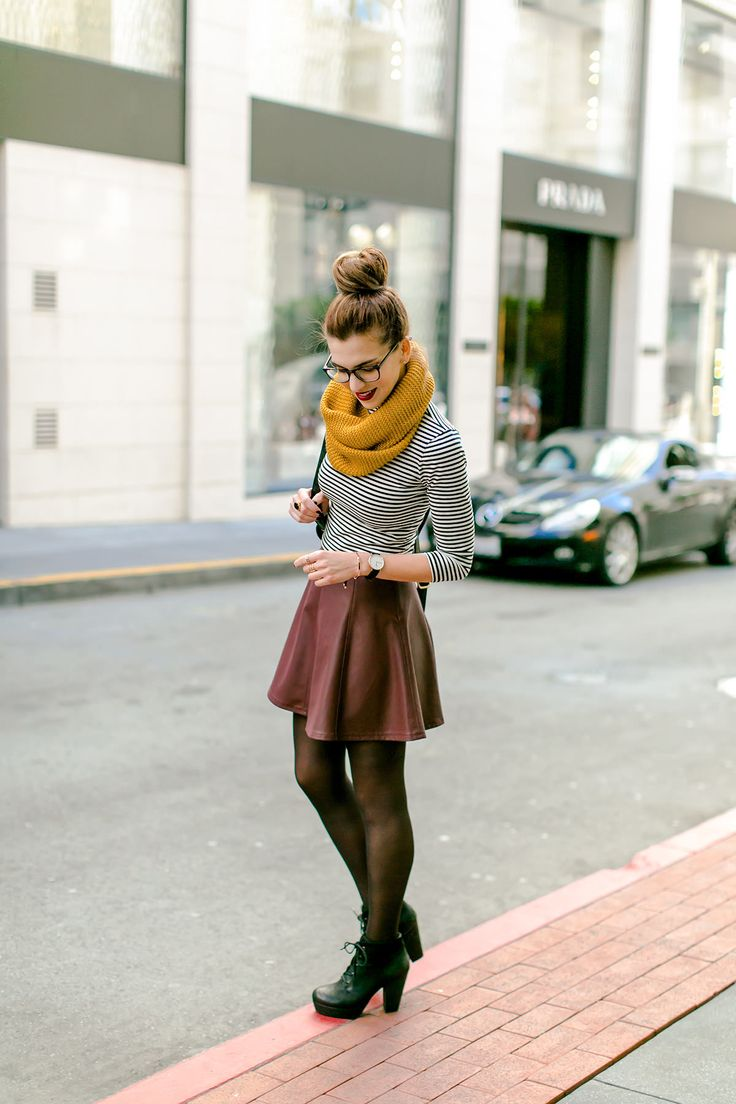 leather mini skirt, mustard scarf fall outfit bmodish