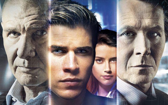 Descargar fondos de pantalla La Paranoia de 2017, thriller, Liam Hemsworth, Amber heard, Harrison Ford, Gary Oldman