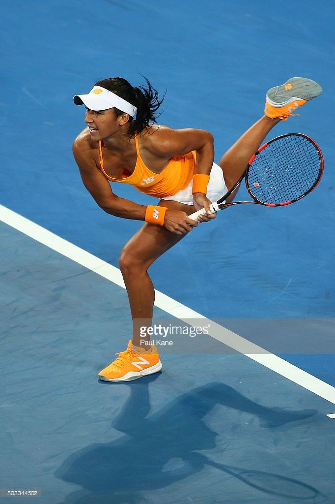 Heather Watson of Great Britain serves to Caroline Garcia of France in the womens singles match during day two of the 2016 Hopman Cup at Perth Arena on January 4, 2016 in Perth, Australia.