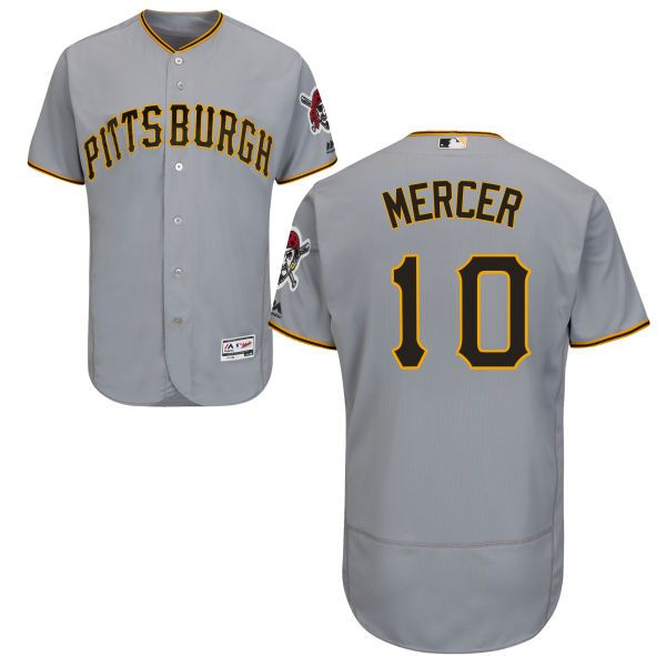 mens pittsburgh pirates10 jordy mercer road flexbase gray authentic baseball jersey