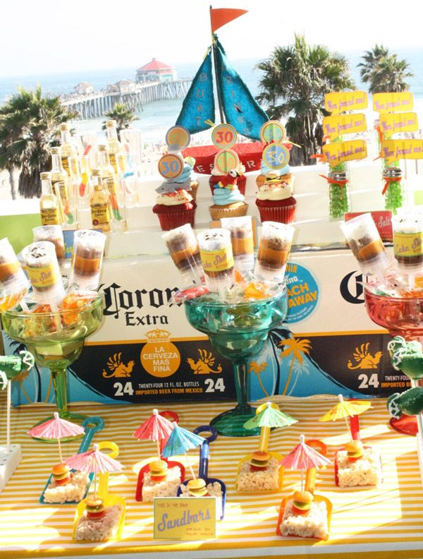 Jimmy Buffet Party - Sand  bars made with rice cereal bar, gummy cheeseburger sitting under umbrella displayed on a shovel