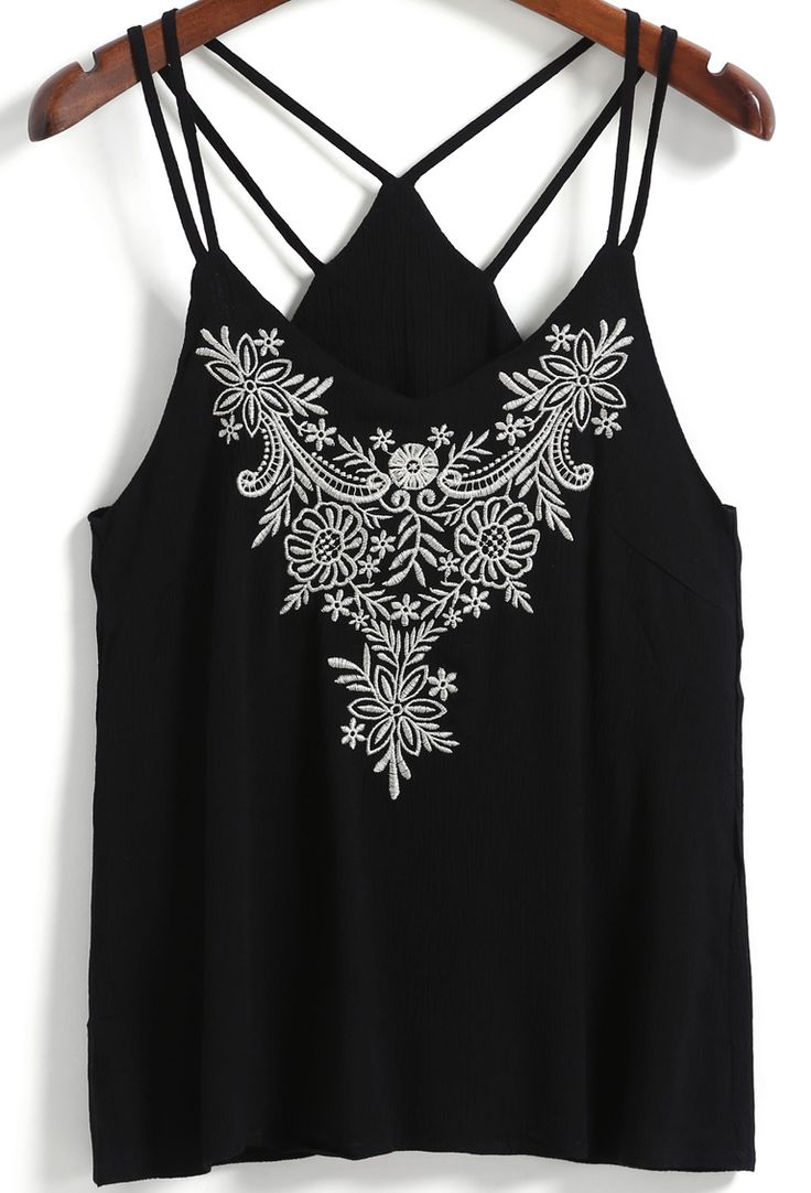 Black Double Spaghetti Strap Embroidered Cami Top -SheIn(Sheinside)