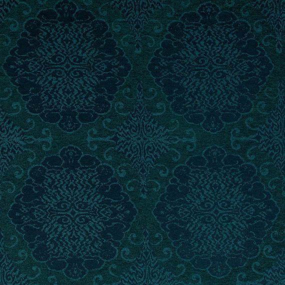 Teal and Navy Blue Medallion Upholstery Fabric- Large Scale Fabric - Dark Teal Chenille Furnishing Material - Motif Headboard Fabric