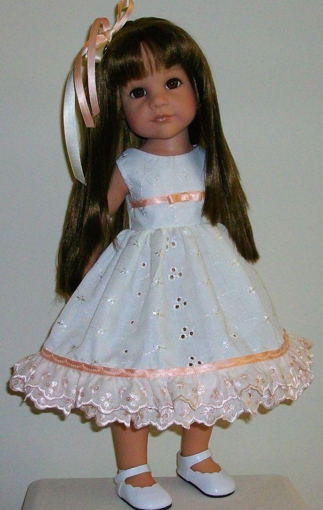 """peaches  cream dress  hair slide fits 18-20"""" Dolls Designafriend/Gotz hannah"""