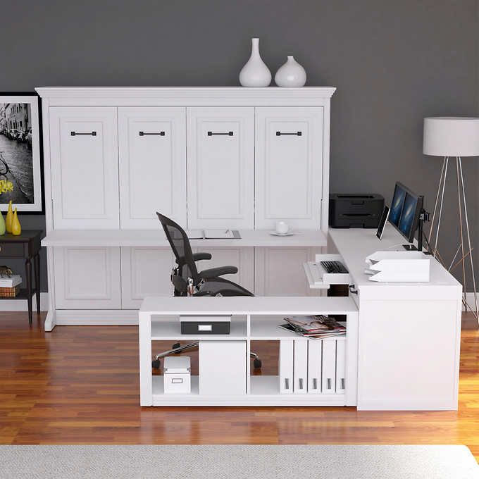 Melbourne Office Pro Queen Wall Bed With Desk White In