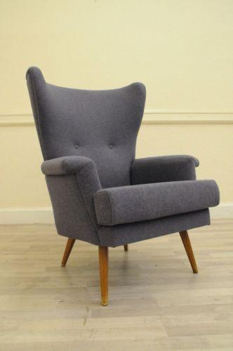Mid Century Wing Arm Chair Vintage Retro 50s 60s 70s Deco Wool Antique aRT Sofa