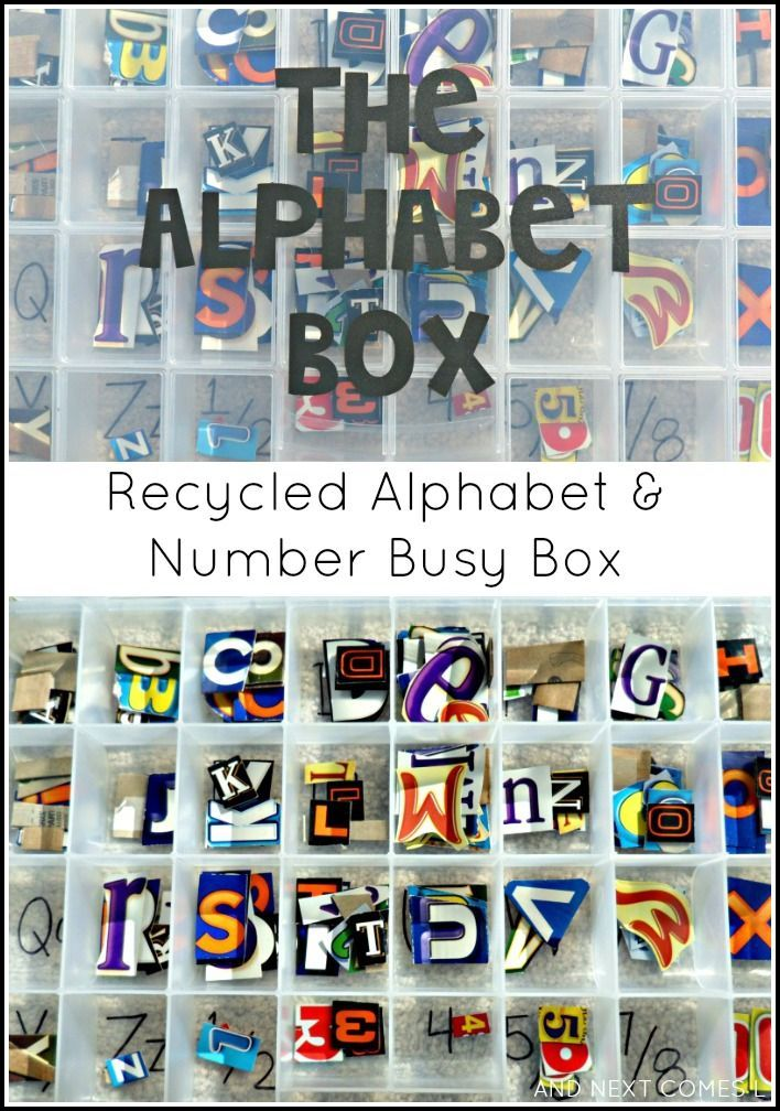 Make an alphabet & number busy box for toddlers and preschoolers using recycling