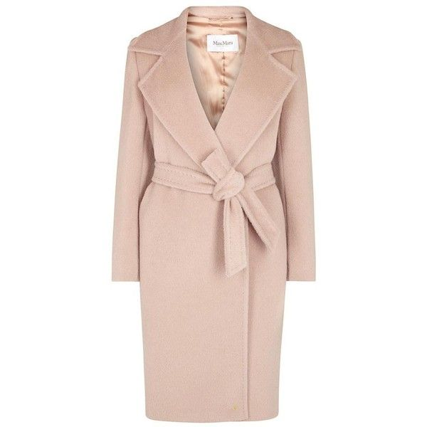 Max Mara Dusky rose alpaca and wool blend coat featuring polyvore, women's fashion, clothing, outerwear, coats, pink coat, alpaca wool coat, maxmara coat, maxmara and alpaca coat